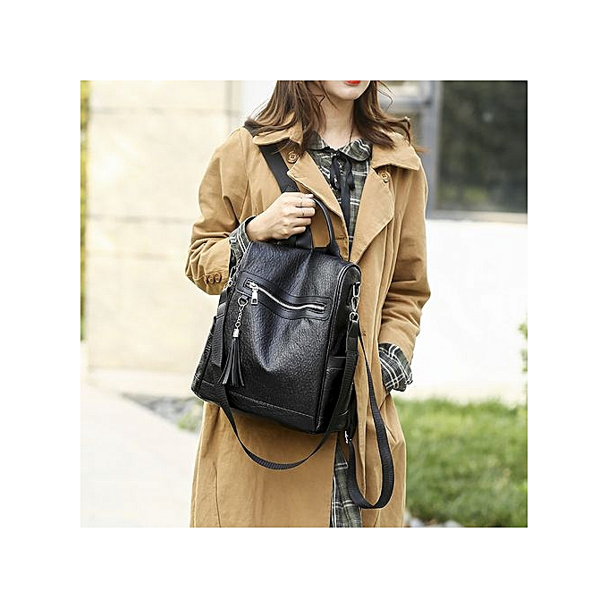 Fashion Tectores femmes Backpack Casual Soft Leather Wild Simple Backpack Anti-theft Bag à prix pas cher