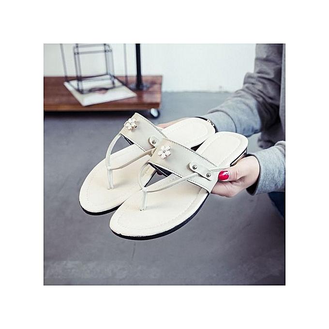 Fashion Blicool chaussures  femmes Beach chaussures Flower Flat Sandals Slip Resistant Slippers Sandal BG   Beige à prix pas cher