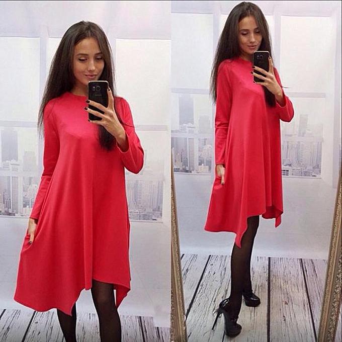 Fashion femmes Long Sleeve Irregular Loose Swing Tunic Jumper Dress rouge L à prix pas cher