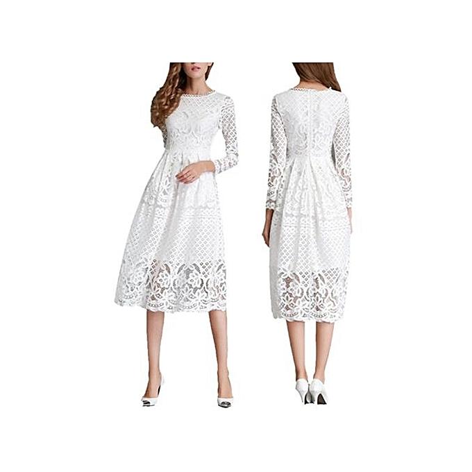 Fashion Autumn Summer Elegant Ladies Dress Wrist Sleeve Hollow Out Lace Solid Dress femmes Lace O-neck Party Dress - blanc à prix pas cher