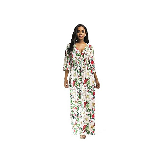 Fashion Plus Taille femmes Beach Long Dress Elegant noir Dresses femmes Bodycon Floot Length Female Print Floral Dress-blanc à prix pas cher
