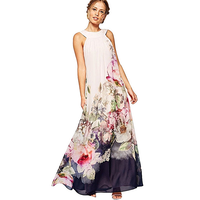 Fashion quanxinhshang OVERMAL Summer femmes Casual Fit and Flare Floral Sleeveless Dress XXL à prix pas cher