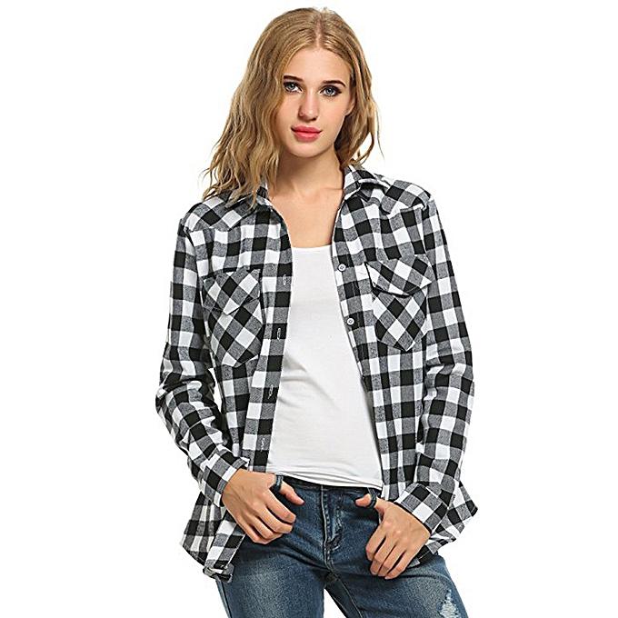 mode femmes Tartan Plaid Flannel Shirts Roll up Sleeve Décontracté hauts Button Down chemisier à prix pas cher