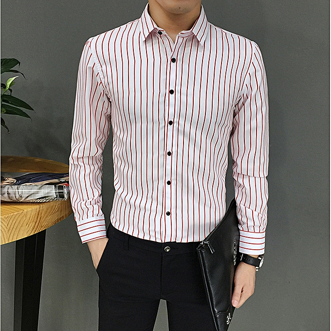 Fashion jiahsyc store  Mens Suit Fit Long Sleeve Button Striped Down Dress Shirts Tops Blouse RD L à prix pas cher