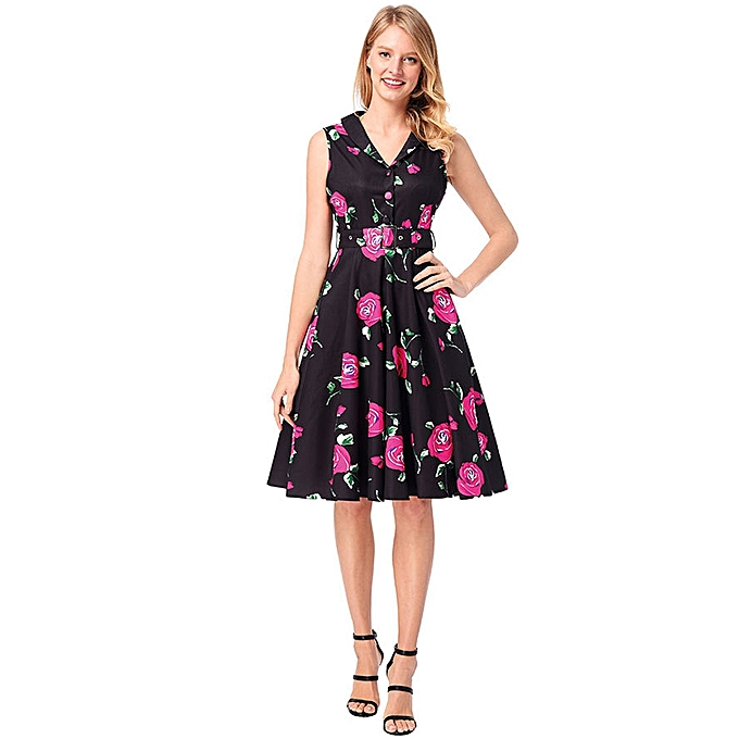 Generic 2018 Spring and Summer Female Retro Hepburn Style Single-breasted with Waist Belt Sleeveless Printed Dress, Taille  XL(rouge) à prix pas cher
