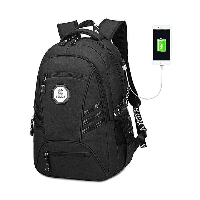 Fashion Men PVC Waterproof 18 Inches Laptop Backpack With USB Charging Port à prix pas cher