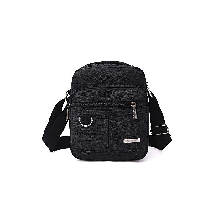 Other Mens Canvas Shoulder Bag Business Canvas Crossbody Bags for Man Messenger Bags Vintage Casual Brand Men purse A10485(noir bag) à prix pas cher