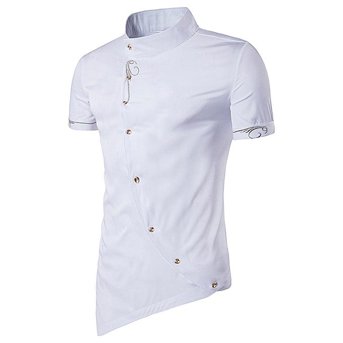 mode Jummoon Shop Hommes Décontracté Button Shirt   Button Mandarin Collar Hommes Tuxedo Shirts WH L à prix pas cher