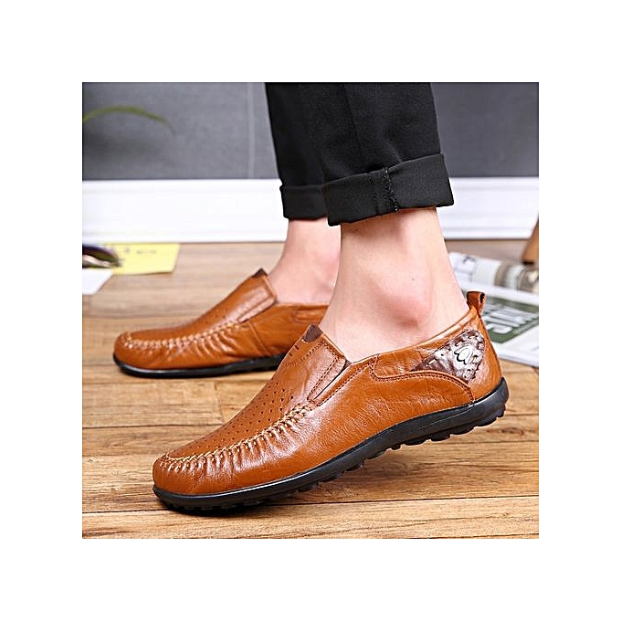 HT  s Cut-Out Cow Leather Loafers Loafers Loafers Anti-Slip Driving Shoes-Brown à prix pas cher  | Jumia Maroc 6a087d
