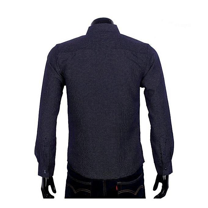 mode jiuhap store Hommes& 039;s Affaires Décontracté Long-sleeved Shirt impression Dots Dark bleu M à prix pas cher