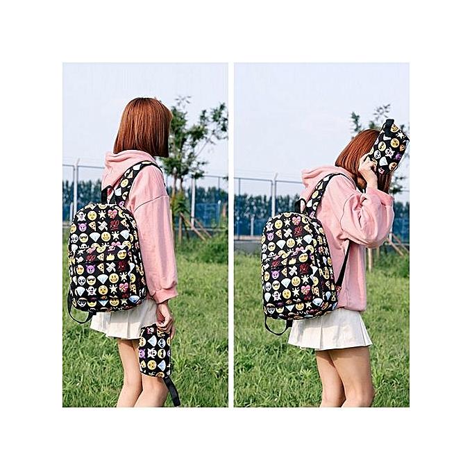 Generic Unisex Print Emoticon Two Piece Set Handsac Shoulder sac sac à dos Zipper sac à prix pas cher