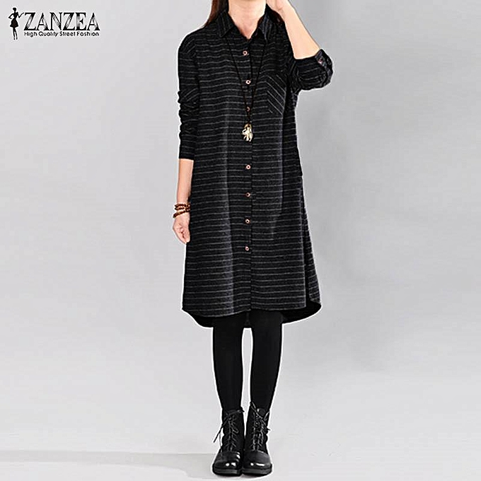 Zanzea ZANZEA Lapel Neck manche longue Stripe Long Shirt Vestido femmes Autumn Vintage Décontracté Loose Long chemisier bleusas S-5XL noir à prix pas cher