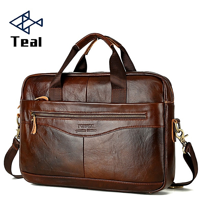 Fashion Leather Briefcase Men's  Leather Handbags Crossbody Bags Men's High Quality Luxury Business Messenger Bags Laptop à prix pas cher