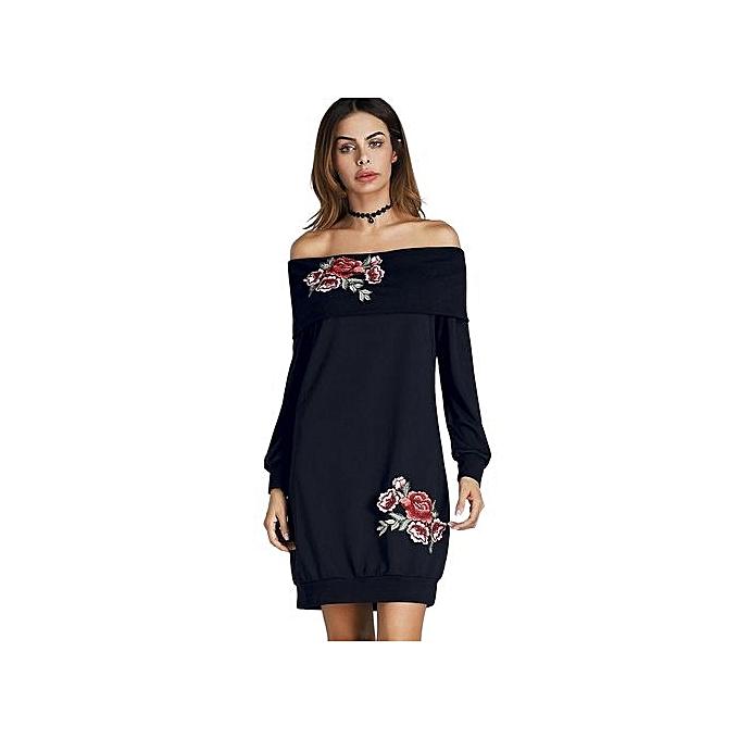 Generic HL Off The Shoulder Floral Embroiderouge Mini Sweatshirt Dress (Cadetbleu)(S-XL) à prix pas cher