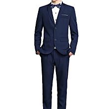 3-Piece Lapel Coat Waistcoat Long Pants Men Bridegroom Business Slim Suit  Outfit-Dark 2055eb26137