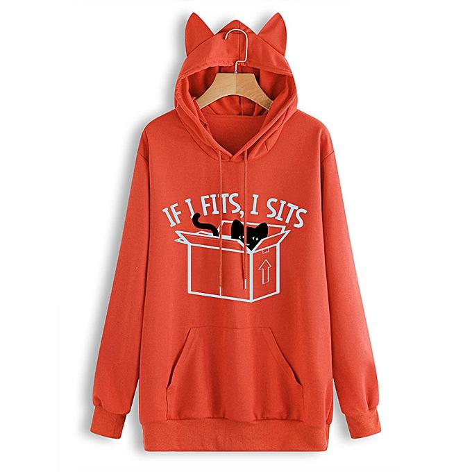 Fashion meibaol store femmes Casual Cat Printed Long Sleeve Cat Ear Hooded Sweatshirt Pocket Top Blouse à prix pas cher