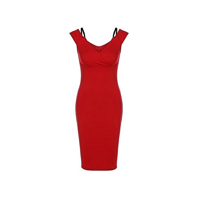 Generic HL Back Slit High Waist Pencil Dress (rouge)(S-2XL) à prix pas cher