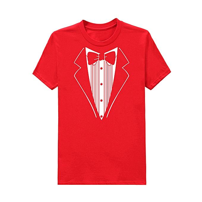 mode Pour des hommes Print Cotton manche courte Tuxedo Fancy drôle T-Shirt Plus chemisier Top RD L -rouge à prix pas cher