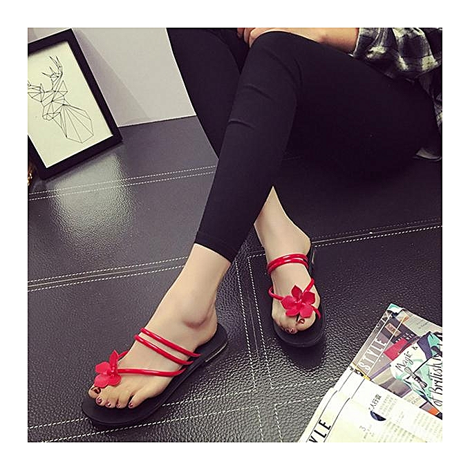 Fashion Fashion Bohemia Flower Clip Toe Two Way Wearing Slip On Flat Flip Flops Gladiator femmes Sandals-EU à prix pas cher