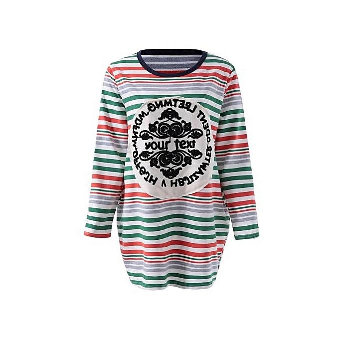 Generic HL Stylish Scoop Neck Striped Embroidery Long Sleeve femmes& 39;s T Shirt (rouge)(M-XL) à prix pas cher