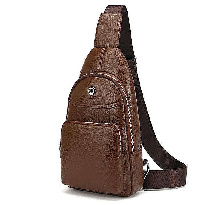 Other FEIDIKABOLO Men Bag Summer High Capacity Chest Bag Man Travel Chest Pack Leather Men Crossbody Bag Designer Male Shoulder Bags(khaki) à prix pas cher