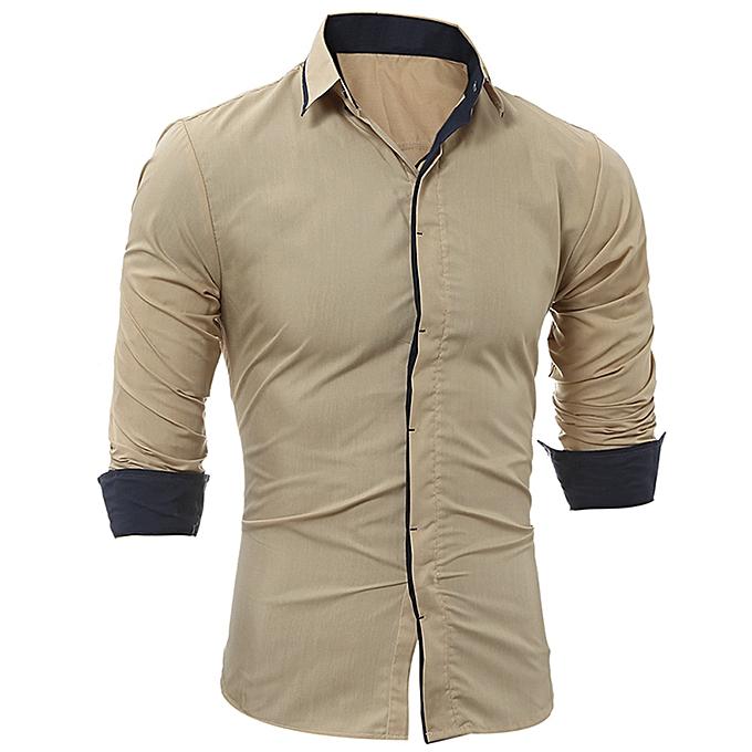 mode Hommes Shirt mode Solid Couleur Stripe Male Décontracté manche longue Shirt  -Khaki à prix pas cher