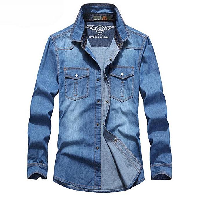 GENERAL Spbague And Autumn nouveau Hommes& 039;s mode Décontracté Cotton Denim manche longue Shirt à prix pas cher
