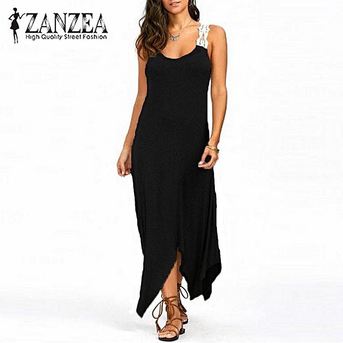 Zanzea ZANZEA femmes Robe d'été en soirée à la plage et robe de soirée Croceht Robe longue longue Maxi Plus (noir) à prix pas cher