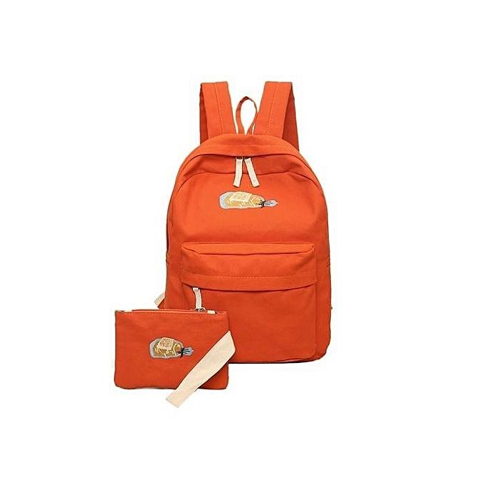 Neworldline femmes Girl School Shoulder Bag Backpack Rucksack Canvas Travel Bags Orange-Orange à prix pas cher