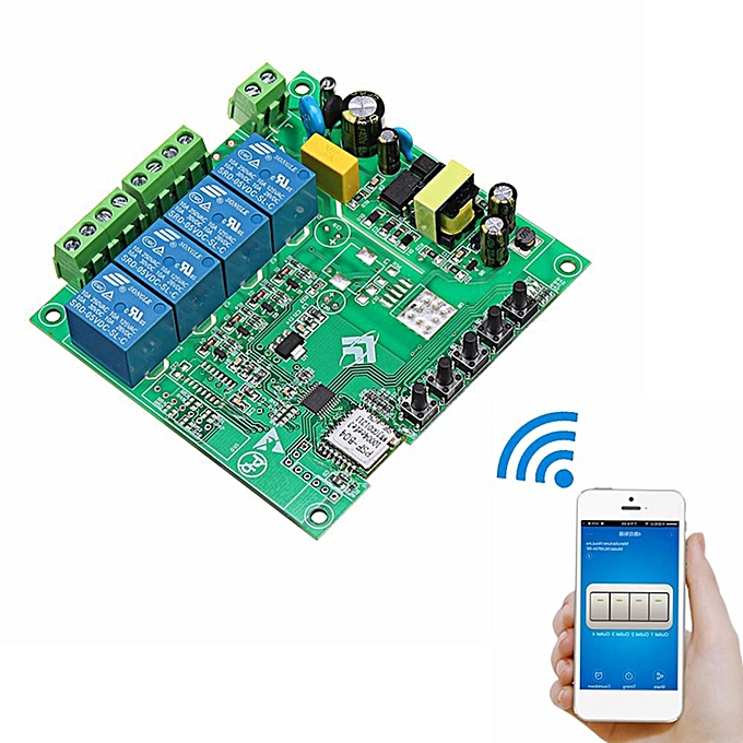 UNIVERSAL AC 220V 10A Control Smart Switch Point Remote Relay 4 Channel WiFi Module Without Shell à prix pas cher