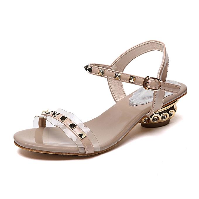 Fashion Wohommes Ladies Summer Fashion Rivet Buckle Sandals à prix pas cher