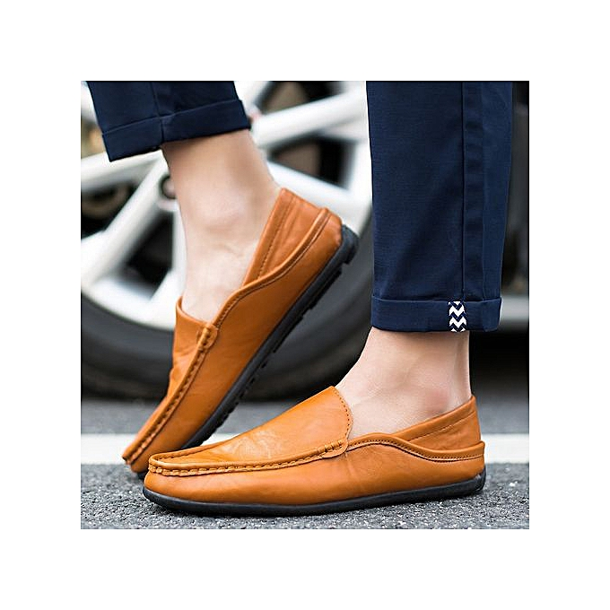 OEM New simple peas chaussures set foot hommes chaussures Korean version of driving hommes casual chaussures half dragging tide leather chaussures-marron à prix pas cher