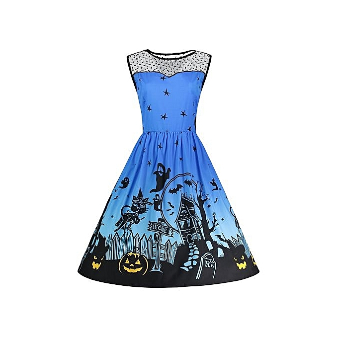 Fashion Halloween Pumpkin Plus Taille Mesh Panel Dress - bleu à prix pas cher