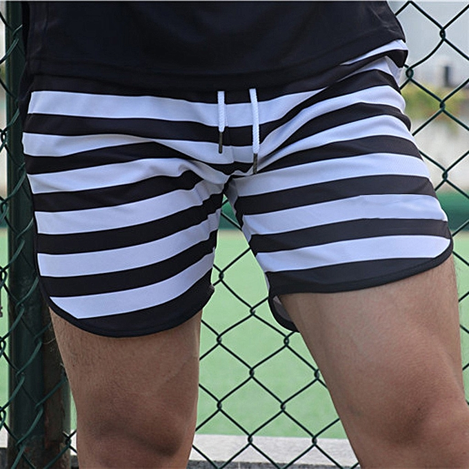 Fashion Mens Summer Fitness Drawstring Bodybuilding Skin Tight-drying Short Sports Pants à prix pas cher