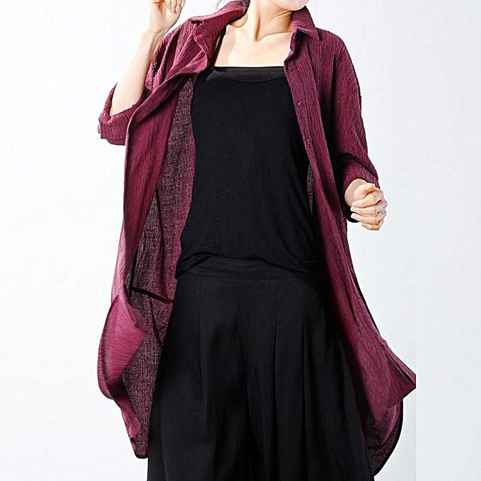 Zanzea ZANZEA femmes manche longue Lapel Button Down OverTaille Open Front hauts Shirt chemisier Wine rouge à prix pas cher