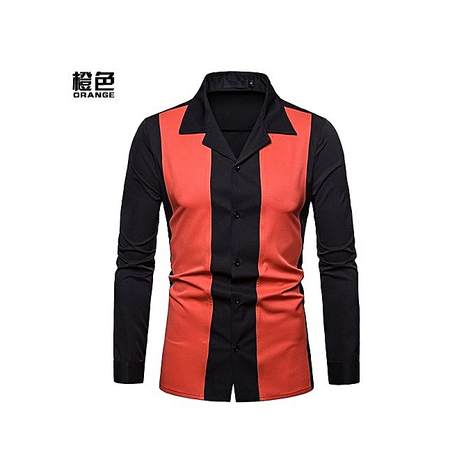mode Hommes manche longue Shirt Hommes Décontracté Slim Fit Male Shirts Splice Turn-Down Collar High Quality mode Shirts - Orange à prix pas cher