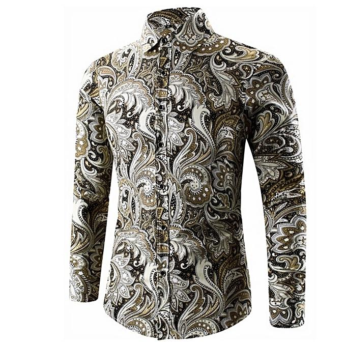 Other mode Hommes Button Printed Slim Plus Taille manche longue Thin Shirt à prix pas cher