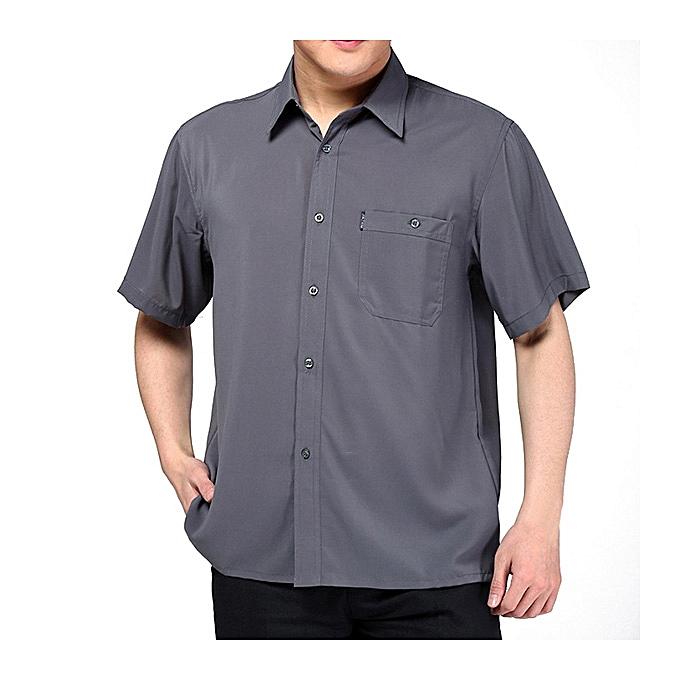 Fashion Silk Soft Loose Casual Business Summer Cool Shirts for Men à prix pas cher