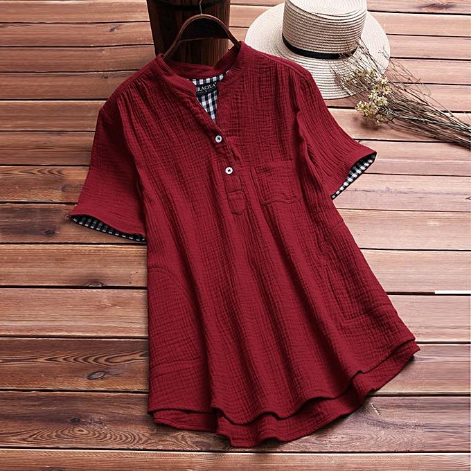 mode (Xiuxingzi) femmes Stand Collar Linen Pocket Lattice Décontracté Loose Tunic hauts T Shirt chemisier à prix pas cher