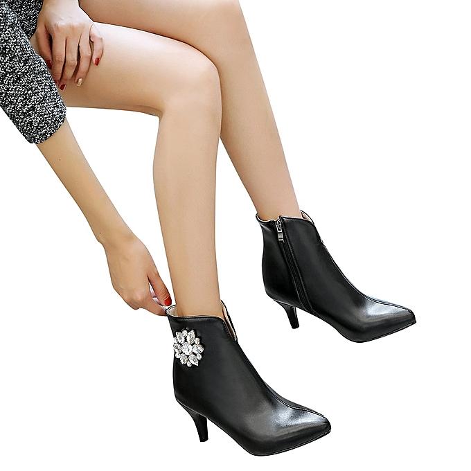 Fashion WoHommes 's Fashion Shoes Side Zipper High Heel Heel Heel Flower Shaped Rhinestone Ankle Boots -Pu à prix pas cher    Jumia Maroc 373294