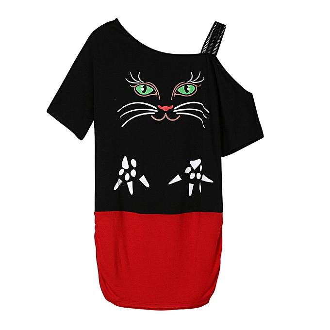 Generic Generic femmes Cat impression Off Shoulder T-Shirt manche courte Décontracté hauts chemisier A1 à prix pas cher