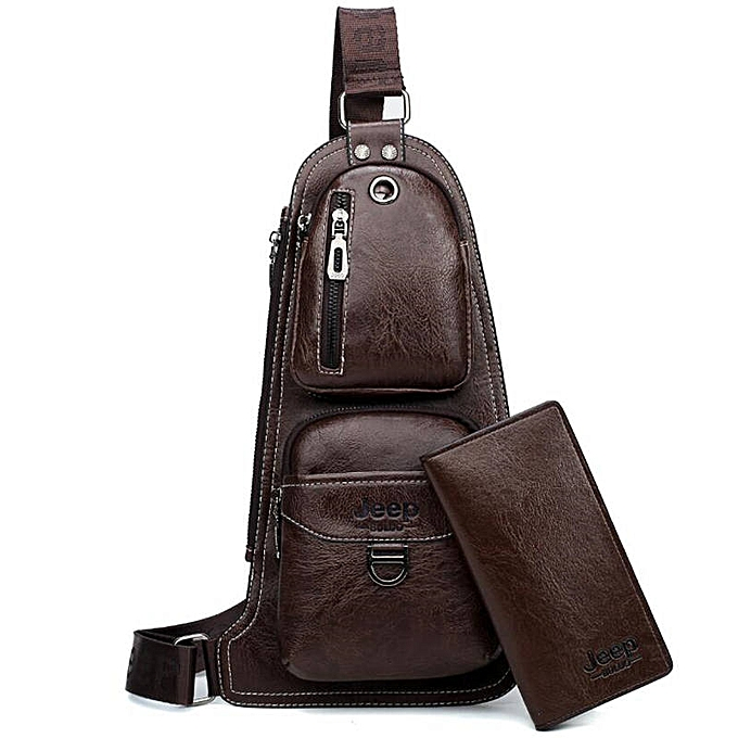 Other JEEP BULUO Brand Men Cross body Bags New Hot Crossbody Shoulder Bag Famous Brand Man's Leather Sling Chest Bags Fashion Casual(6196-8068 marron) à prix pas cher