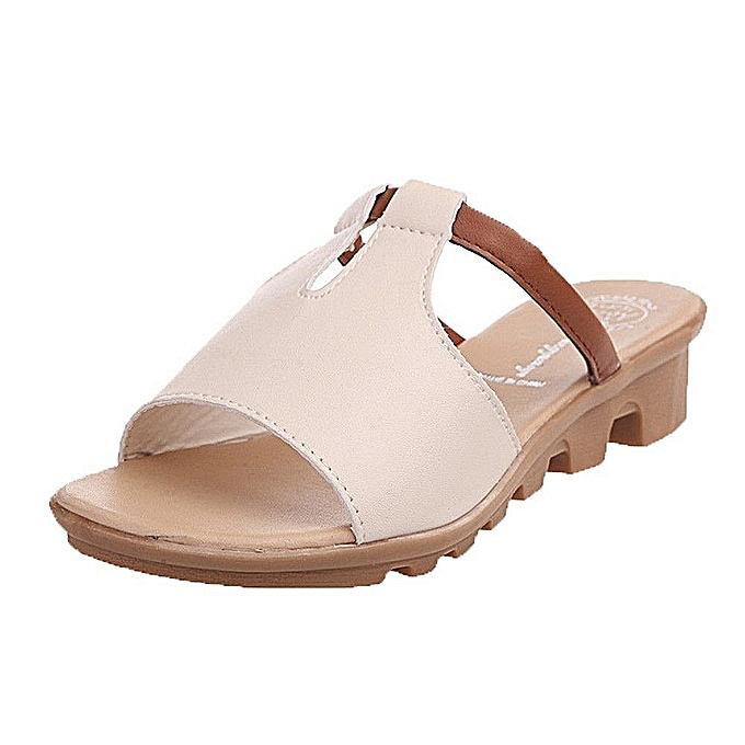 Fashion Summer Cut Out Sandals Fashion Solid Beach Slides Slippers femmes chaussures -blanc à prix pas cher    Jumia Maroc