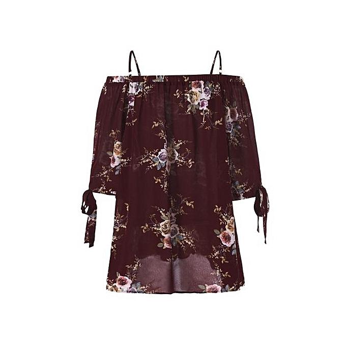 Nextmia Plus Taille Floral Cold Shoulder Blouse_WINE rouge à prix pas cher