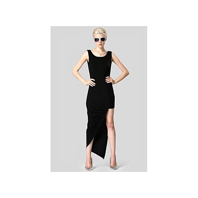 Sunweb Finejo Stylish Lady femmes Irregular Sleeveless O-neck High Split Asymmetric Hem Dress à prix pas cher