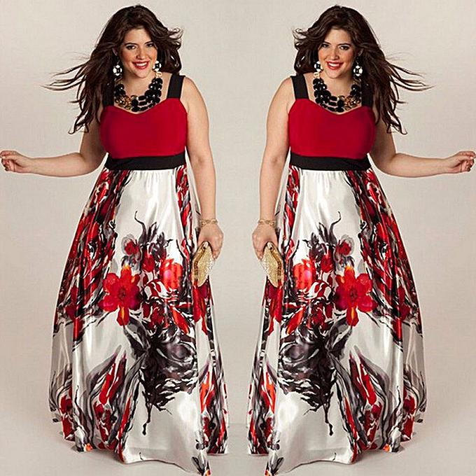 Fashion TCE Plus Taille femmes Floral Printed Long Evening Party Prom Gown Formal Dress 4XL à prix pas cher