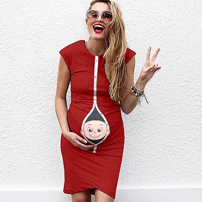 Fashion Wohommes Maternity Pregnanty Sleeveless Summer Cartoon Print Dress à prix pas cher