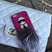 e611b4e4f0c Coque iPhone 7 8 en fourrure de renard fendi Karl loves (Rose)