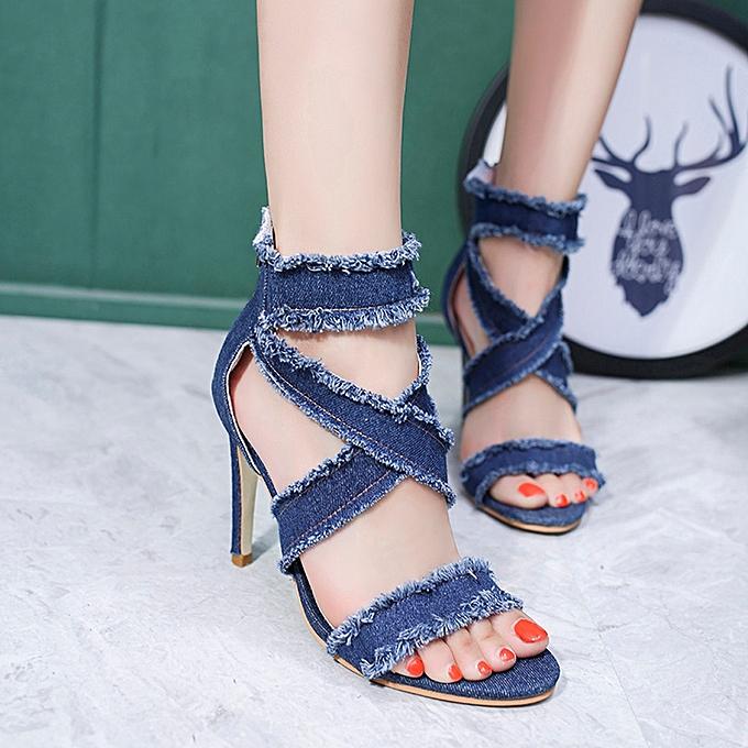 Générique Sedectres WoHommes   WoHommes Fashion Solid Denim Fine Heel Pointed Toe Zipper High Heeled Shoes Blue-Blue à prix pas cher  | Jumia Maroc c38466