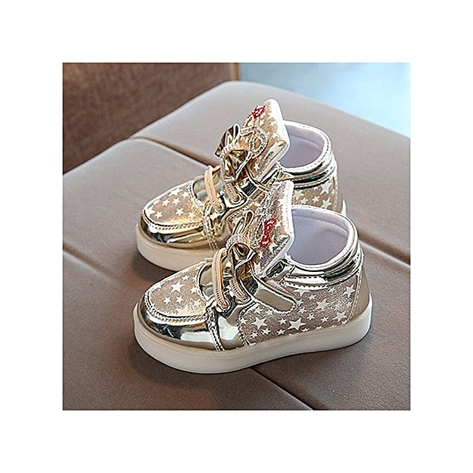 7aa62091f11c4 Toddler Bébé Fashion Sneakers Star Luminous Child Casual Colorful Light  Chaussures - Gold